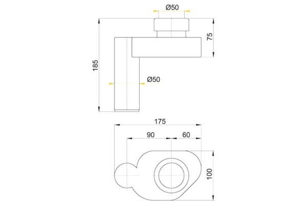 Cифон для писсуара горизонтальный AlcaPlast А45В