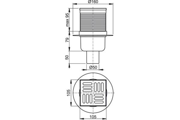 Трап Alca Plast APV2 прямой,  решетка хром