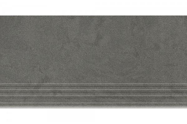 Керамогранит Керамика Будущего Ступень Амба графит матовый с насечками MR 60х30