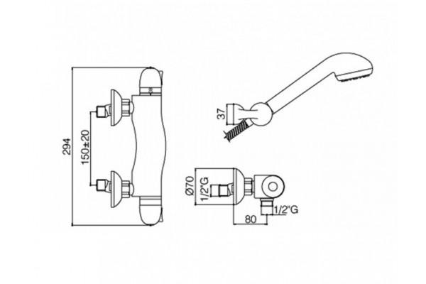 Смеситель Paffoni, EQUO для душевой кабины, термостатический, хром