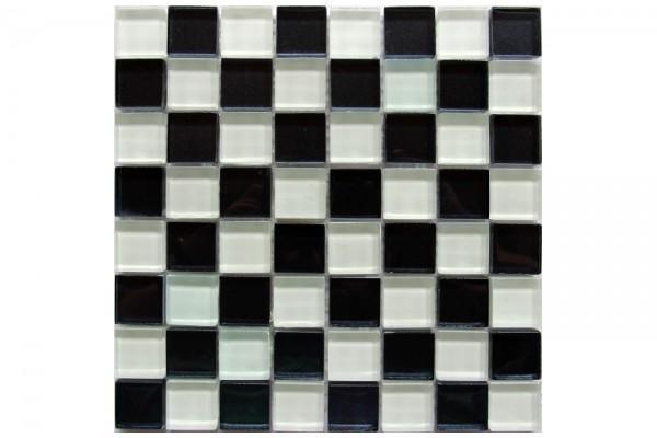 Мозаика стекло Glass White Black 30x30x0,4(1,62)