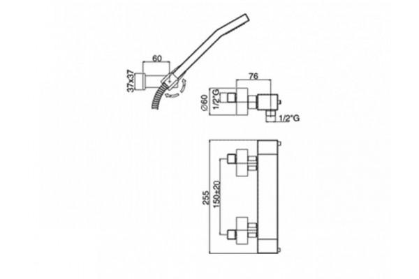 Смеситель Paffoni, LEVEL для душевой кабины, хром, LEC168DCR