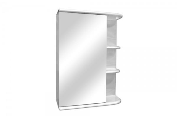 Зеркальный шкаф Бриз 50, левый, белый глянец, с подсветкой