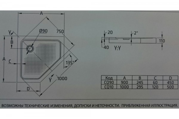 Душевой угол Universal Pentagonal 90х90