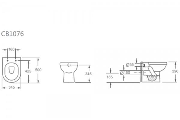 Унитаз приставной Alcora Rio CB1076 , с сиденьем дюропласт, микролифт