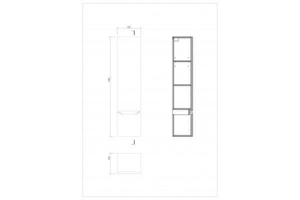 Шкаф-пенал Cersanit Street Fusion, подвесной