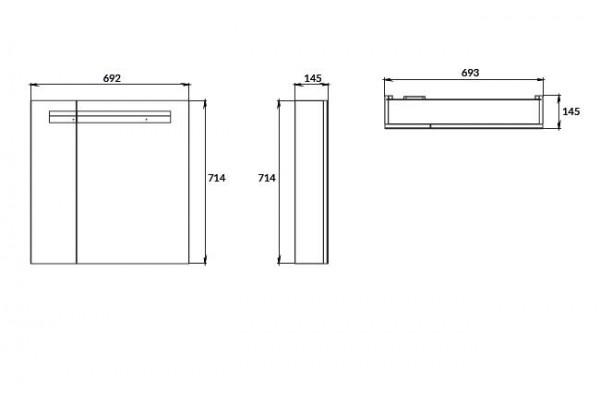 Зеркало-шкаф Cersanit Melar 70, с подсветкой, белый