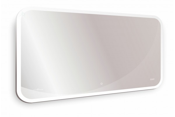 Зеркало Alcora Viana Led 1200x700 с часами, с подогревом
