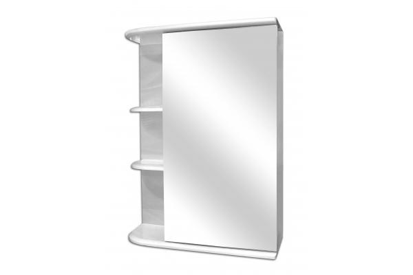 Зеркало-шкаф Lasko Бриз 50 левый, с подсветкой, белый глянец