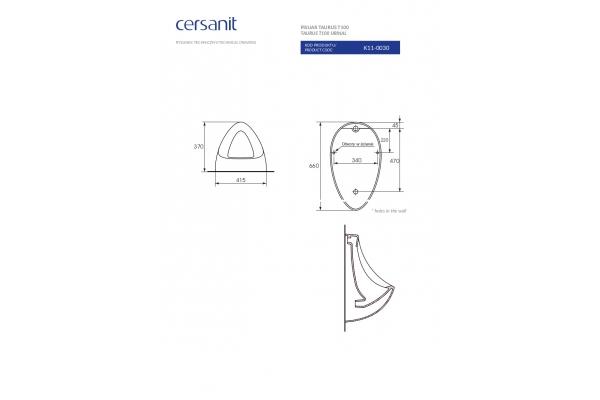 Писсуар Cersanit Taurus P-PI-T100