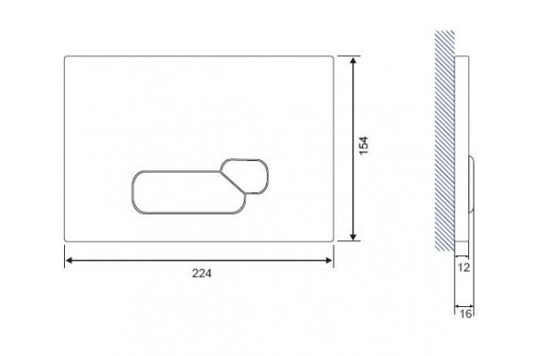 Кнопка смыва Cersanit Actis BU-ACT/Blg/Gl, стеклянная, черный универсальный
