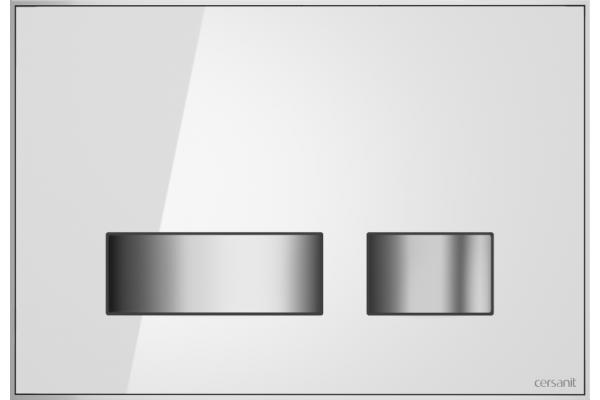 Кнопка смыва Cersanit Movi BU-MOV/Whg/Gl, стеклянная, белый универсальный
