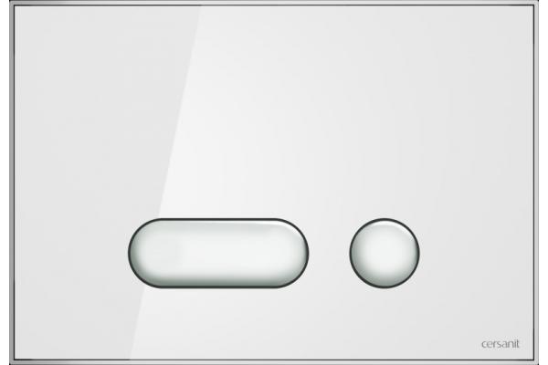 Кнопка смыва Cersanit Intera BU-INT/Whg/Gl, стеклянная, белый универсальный
