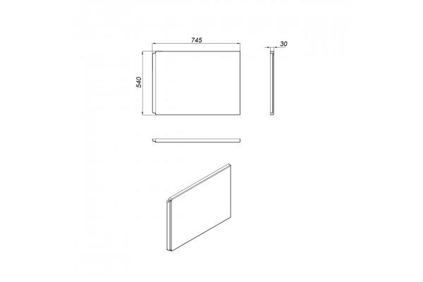 Экран под ванну боковой Cersanit Virgo 75 см