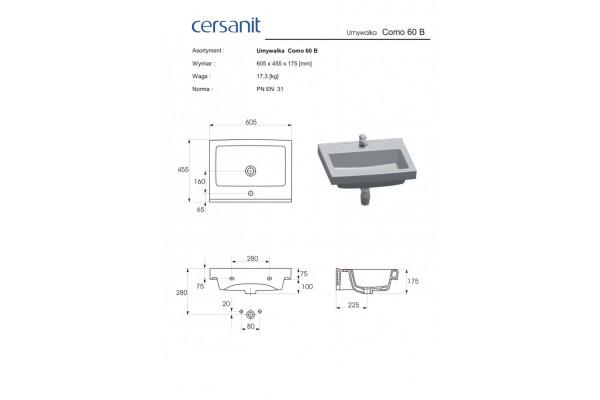 Раковина Cersanit Grand 60 UM-GRA60/1-w