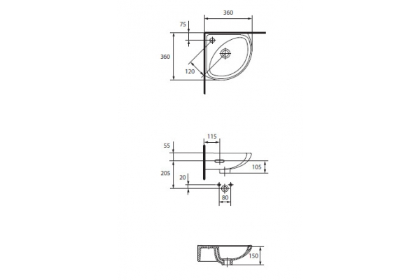 Раковина Cersanit Sigma 36 UM-Sg/1, угловая