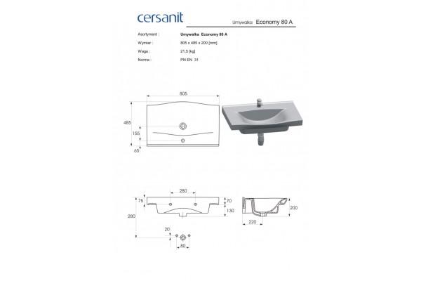 Раковина Cersanit Strim 80 UM-STR80/1-w