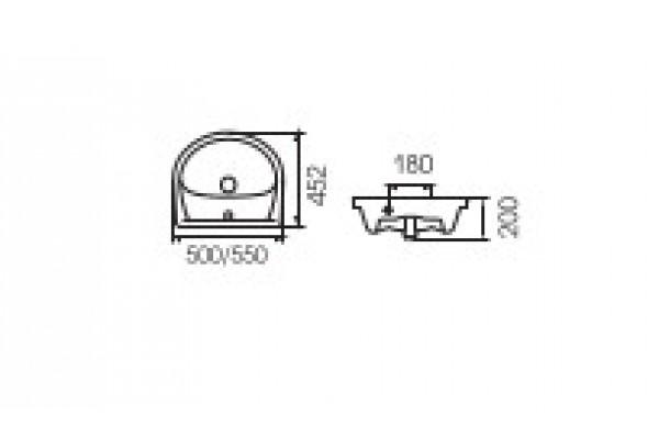Умывальник для мебели ERICA E50 с отверстием под смеситель