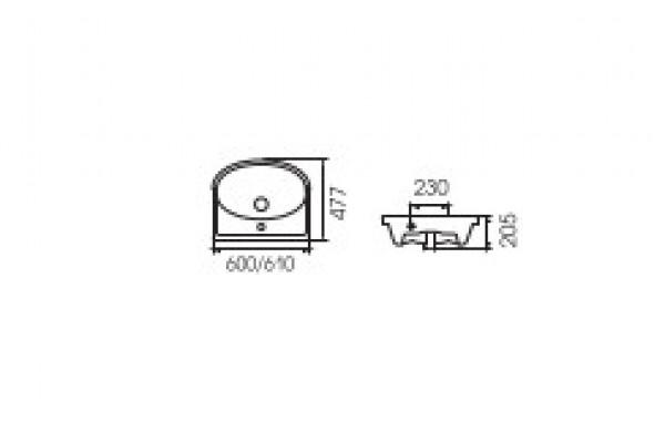 Умывальник для мебели ERICA E61 с отверстием под смеситель