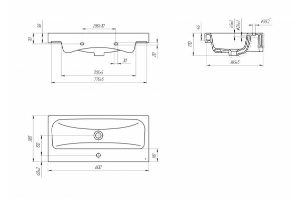 Раковина Cersanit для мебели Moduo 80 Slim UM-MOD80SL/1