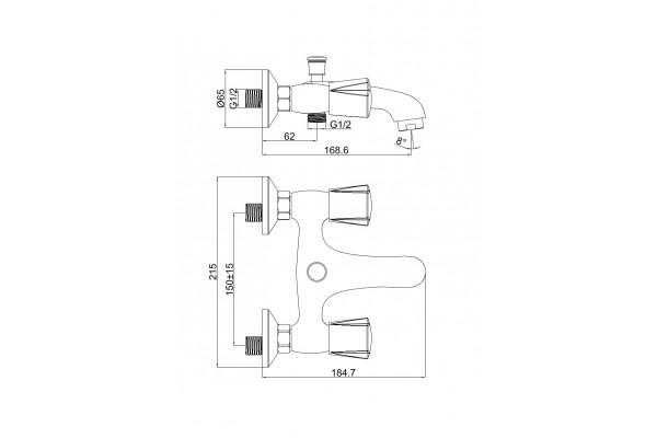 Душевой комплект Alcora Delta для ванны, короткий излив, хром