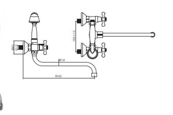Душевой комплект Lasko Atra New ретро для ванны, длинный излив