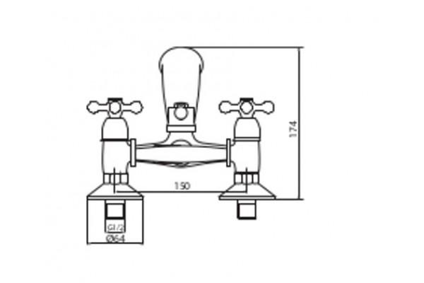 Смеситель Lasko, ATRA для ванны с коротким изливом, хром, new