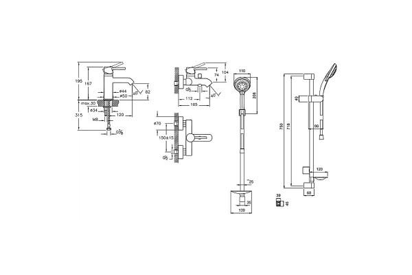 Набор смесителей Vitra Minimax S штанга A49153EXP