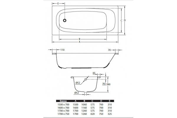 СтальнаяваннаBLB Universal HG B60HAH001, 160х70