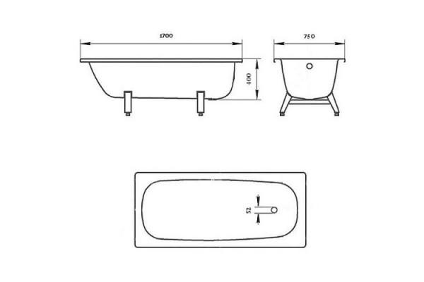 Ванна стальная ВИЗ, DONNA VANNA 170х75 о/п 71200