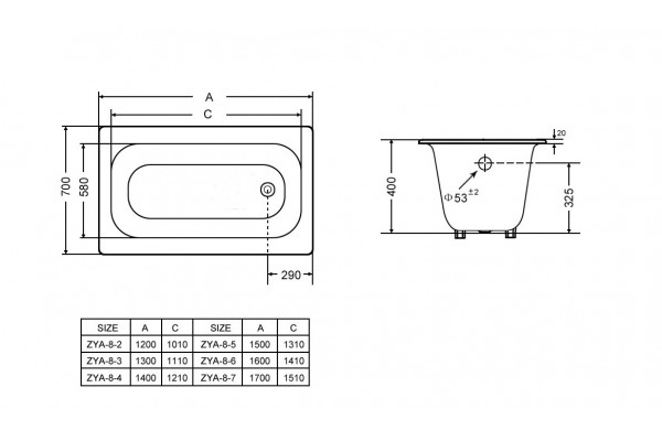 ВанначугуннаяClassic Goldman, 160х70, без ножек