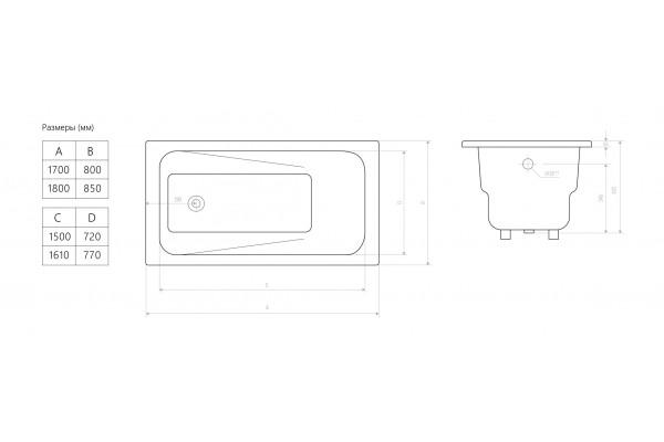 Ванна чугунная Art 180х85х42 с отверстиями для ручек, без ножек