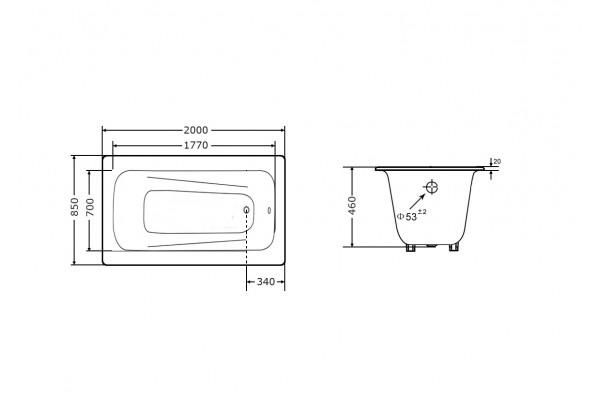 Чугунная ванна Goldman Maxima, 200х85х46