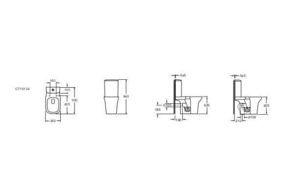 Унитаз-компакт Alcora Brisa CT10134C, с сиденьем дюропласт, микролифт