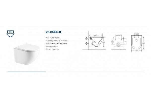 Унитаз подвесной Alcora Encanto LT-046E-R, безободковый, микролифт