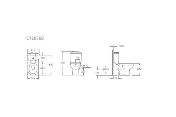 Унитаз-компакт Alcora Rio CT1076B, с сиденьем дюропласт, микролифт