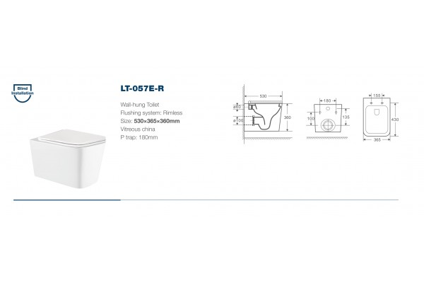 Унитаз подвесной Alcora Tormeta LT-057E-R, безободковый, микролифт