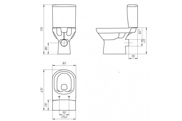 Унитаз-компакт Cersanit City New Clean On KO-CIT011-3/5-COn-S-DL-w, безободковый, микролифт