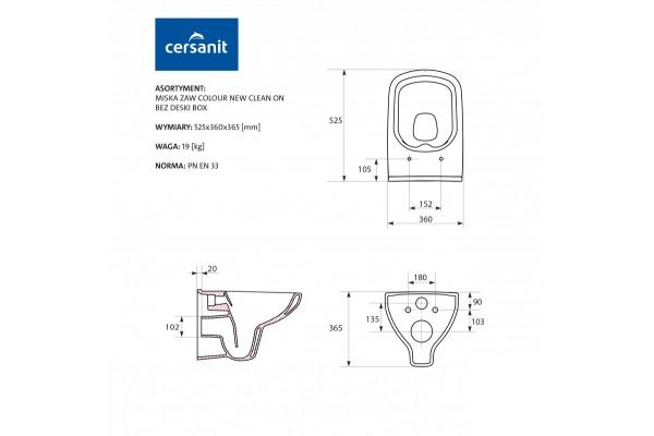 Унитаз подвесной Cersanit Colour Clean On MZ-COLOUR-COn-DL-m, безободковый, микролифт