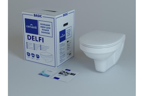 Унитаз подвесной Cersanit Delfi MZ-DELFI-PL, с сиденьем термопласт, микролифт