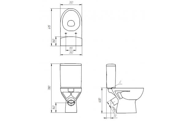 Унитаз-компакт Cersanit Geo 031 KO-GEO031-3/6-DL-w, с сиденьем дюропласт, микролифт