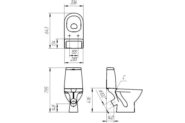 Унитаз-компакт Cersanit Granta KO-GRA031-3/6-DL-w, с сиденьем дюропласт, микролифт