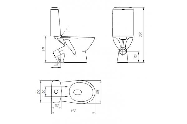 Унитаз-компакт Cersanit Just 031 KO-JUS031-3/6-PL-w, с сиденьем термопласт, микролифт