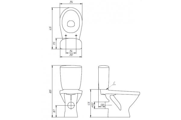 Унитаз-компакт Cersanit Trento KO-TR011-3/6-PL, с сиденье термопласт, микролифт