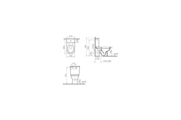 Компакт-моноблок Vitra Zentrum 9012B003-7200, с сиденьем дюропласт, микролифт
