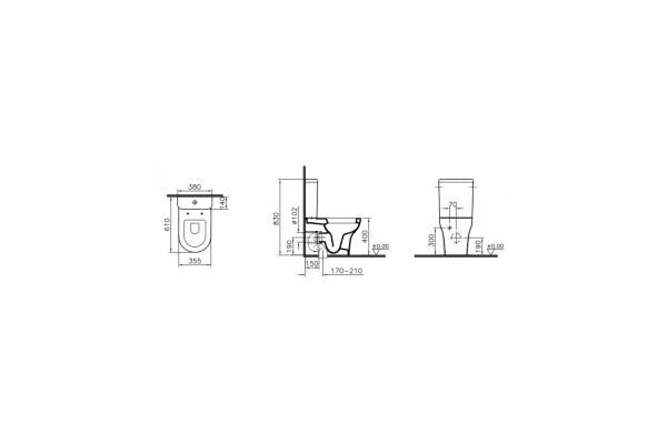 Унитаз-компакт Vitra Rim-ex Zentrum Open Back 9824B003-7207, безободковый, микролифт