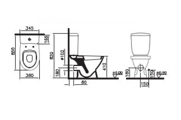 Унитаз-компакт Vitra Norm Cult 9839B099-7200, с сиденьем полипропилен